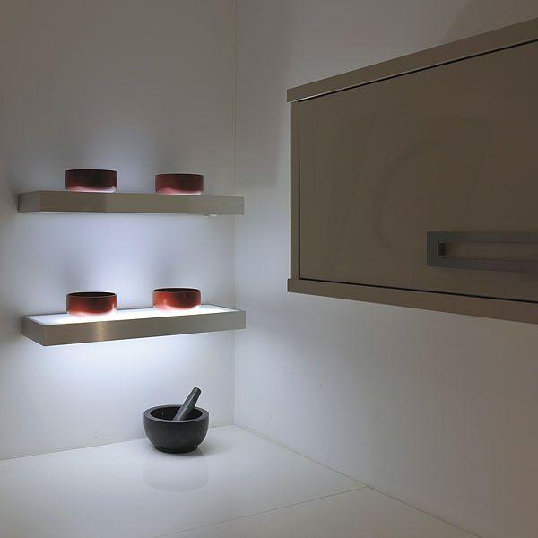 Image result for kitchen shelves lighting