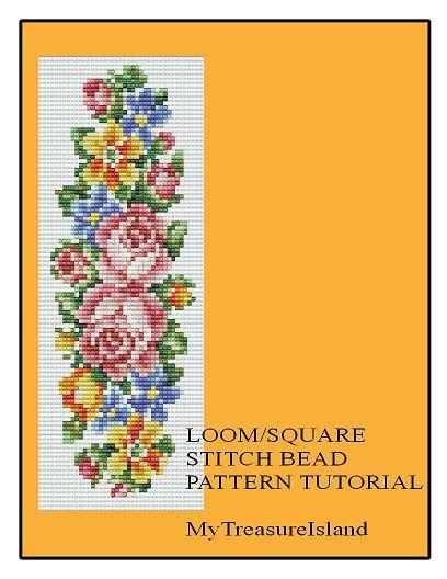 Bead Loom Floral Vertical Stripe Bell Pull Bracelet Pattern PDF