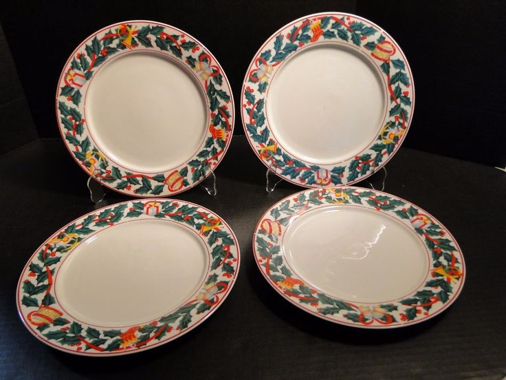 "Sango Christmas Morning Dinner Plate 10 5/8"" 8846 FOUR EXCELLENT! #Sango"