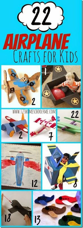 22 Airplane Crafts for Kids - So many super cute plane crafts for toddler, preschool, kindergarten and elementary age kids. Perfect for letter a, before a family vacation, and more.