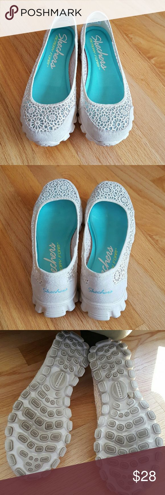 Skechers ballet flats Pretty ballet flats Memory foam Lace design Ivory color Worn a few times Skechers Shoes Flats & Loafers