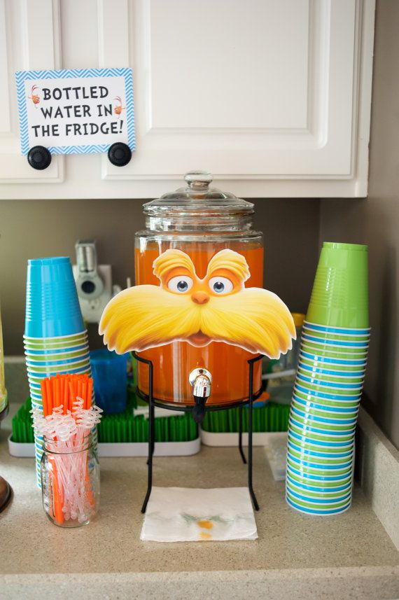Lorax- Punch Pitcher Sign- Printable Sign- Birthday- Art--SO CUTE for a Dr. Seuss party!