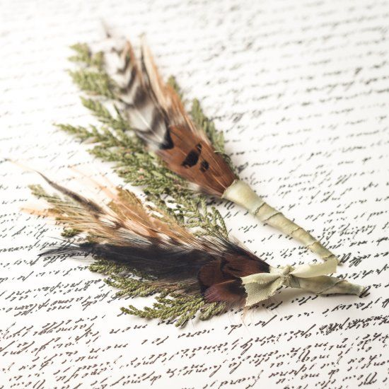 Cedar & Feather Boutonniere Tutorial: Step-by-step directions on how to craft nature-inspired boutonnieres for your woodland wedding