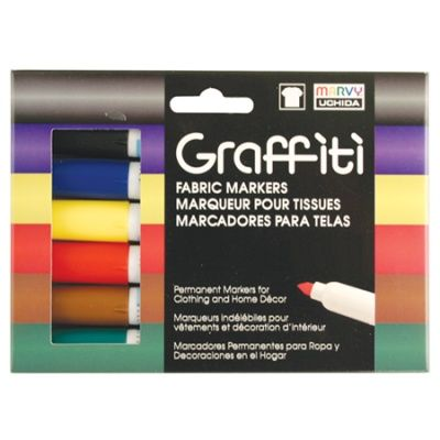 GRAFFITI FABRIC MARKER  The Graffiti Fabric Markers is great for drawing on light colored fabrics. Available in 6 piece sets. Easily create thick and thin lines with the tapered medium tip. The ink is acid free, non toxic and pigmented. Fabric prewashing is not necessary. Easy to use with no mess to clean up.