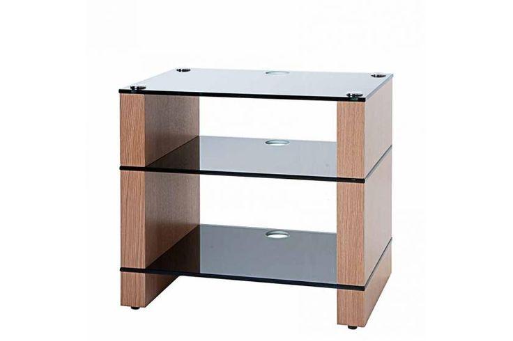 STAX 300 Three shelf Hi-Fi Stand Natural Oak with Black Glass