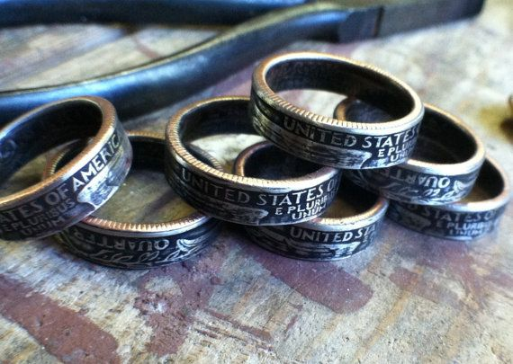 Silver Patriotic Custom Quarter Ring Mens Womans by LuckyLiberty, $38.00