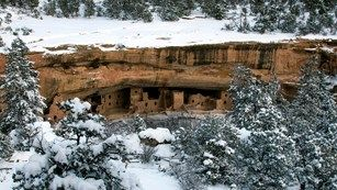 View of Spruce Tree House from across the snowy canyon.  Mesa Verde, CO