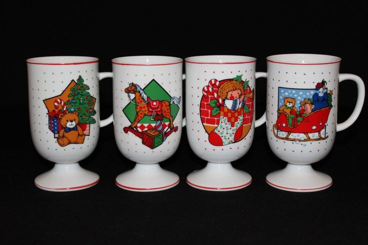 Set of 4 Christmas Holiday Pedestal Colorful Footed Tall Coffee Cups Mugs Japan  #Unbranded