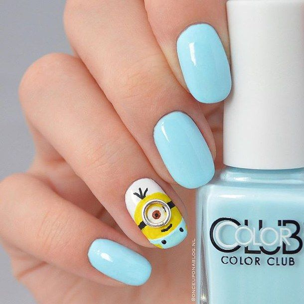 blue nails, cute, fashion, girly, minion, nail art, nail design, neon, pastel nails, pretty, teen, trend, minion nails, teen nails