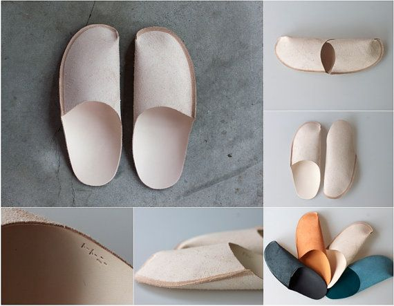 Mens Leather Slippers for Men Leather House Shoes for by ConPiel