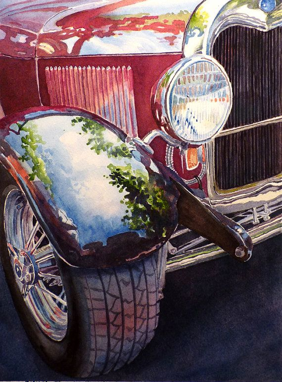Antique Car Art Watercolor Print Red by WatercolorByMuren