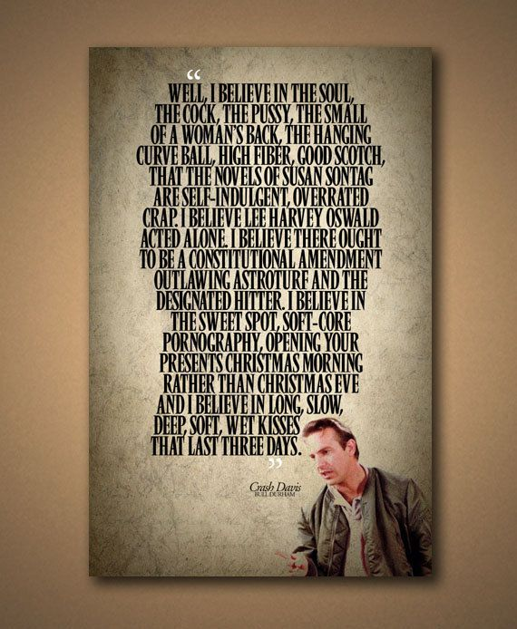 BULL DURHAM Crash Davis Quote Poster by ManCaveSportsSigns on Etsy