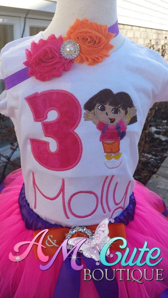 Dora shirt with headband by AMcutetutuboutique on Etsy (null)
