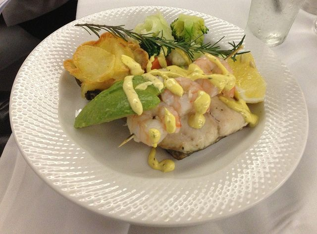 Presidents Dinner MAINS - Grilled Barramundi topped with prawn avocado and bearnaise sauce, chefs potato and panache vegetable  www.gzrsl.com #thebunga #functions #weddings #events #food