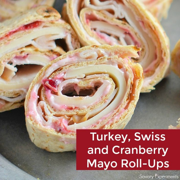 Turkey, Swiss and Cranberry Mayo Roll-Ups- the perfect way to use your Thanksgiving leftovers for a fresh, new meal!