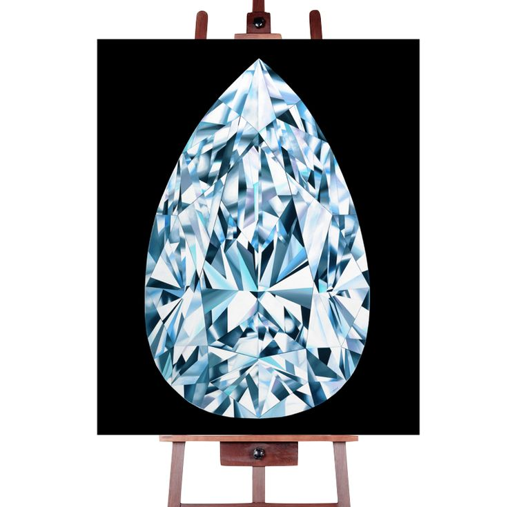 Portrait of Perfection (Canvas print) by Reena Ahluwalia. Pear-shaped Diamond. Starts from $345.00. #FancyColorDiamonds #DiamondPaintings #DiamondArt #ReenaAhluwalia #Diamonds #PearShapedDiamond #PearShaped