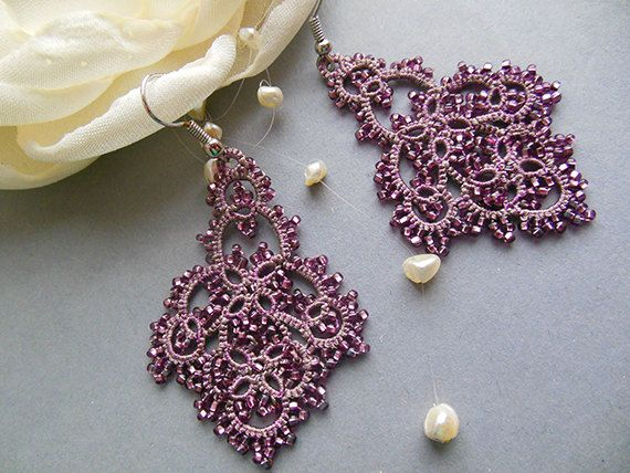 Grey pink tatting earrings filigree lace by KidichiAndMama on Etsy