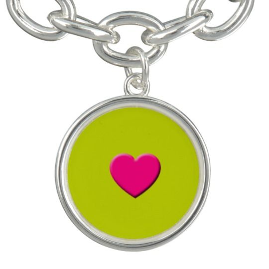 Pink Heart Silver Plated Charm Bracelet by http://www.zazzle.com/htgraphicdesigner*