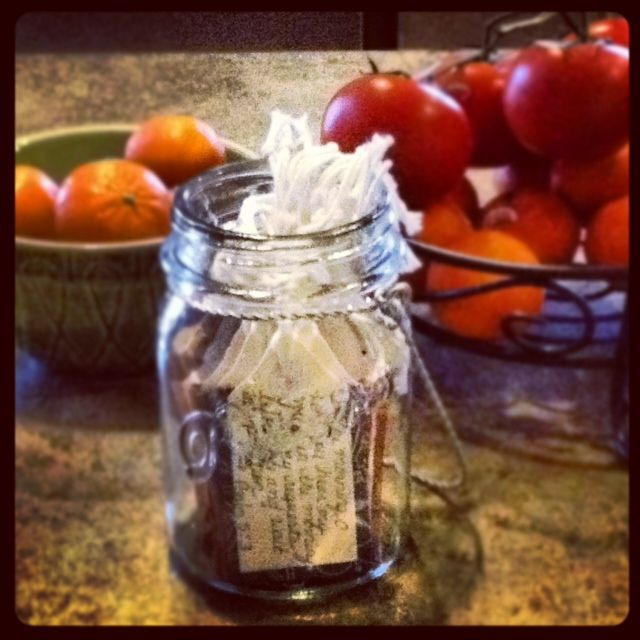 This is a thoughtful and delightful gift to give or receive...a small jar of handpicked Bible verses.  Love it!