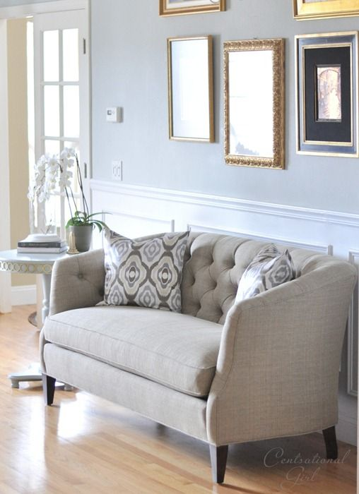 tufted sofa by Sherrill, ikat pillows by @west elm