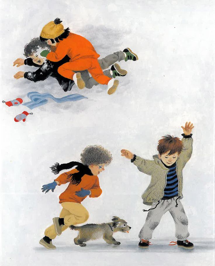 Children playing in the snow from Gerda Muller's Winter board book - Floris Books