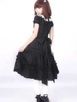 coton noir dentelle classique robe lolita