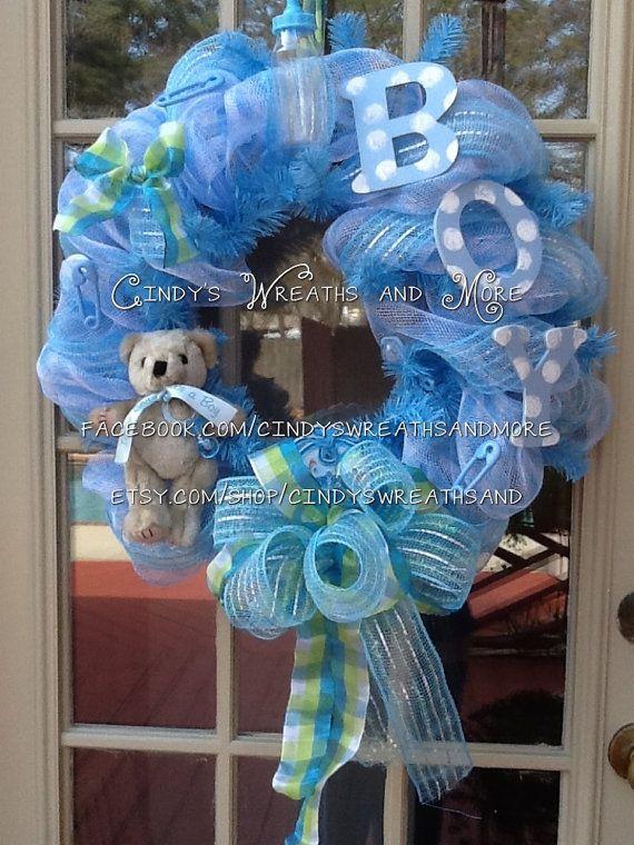 Custom Baby Boy Wreath Nursery Wreath Shower by Cindyswreathsand, $65.00