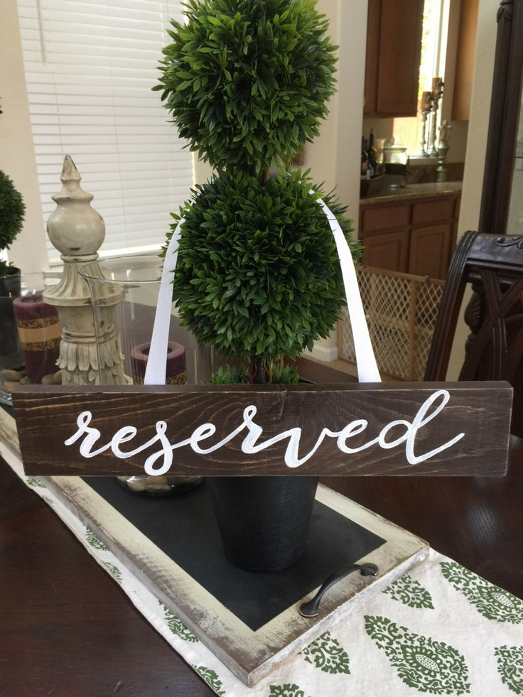 Rustic Wedding Sign, Reserved Wedding Sign, reserved chair, wedding sign, reserved table, reserved isle, hangs on chair or centerpiece, wood by CountryHeartCityGirl on Etsy https://www.etsy.com/listing/461552186/rustic-wedding-sign-reserved-wedding