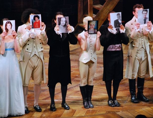 Hamilton stars Phillipa Soo, Daveed Diggs, Lin-Manuel Miranda, Betsy Struxness, Leslie Odom, Jr., and Jonathan Groff evoke the iconic opening number of A Chorus Line.