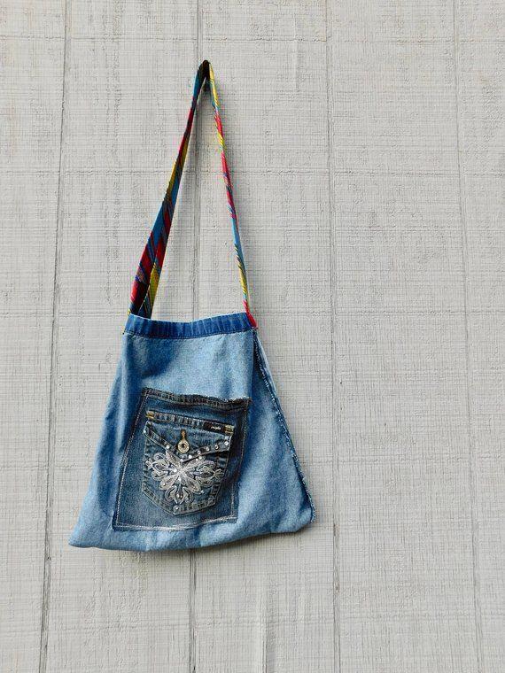 Hand Painted Bag Denim Tote