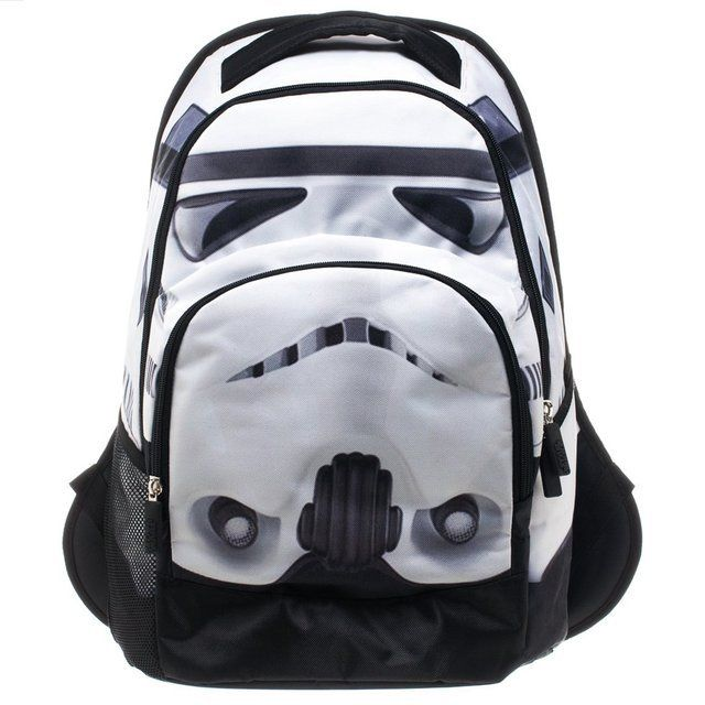 """This awesome Star Wars Storm Trooper Backpack looks just like the helmet of a Storm Trooper and features an inner padded laptop pocket with a furry lining. There is an inner organizational pocket for your small pocket accessorries as well. 13"""" W X 19""""H X 8""""D Please allow 2 weeks for delivery."""