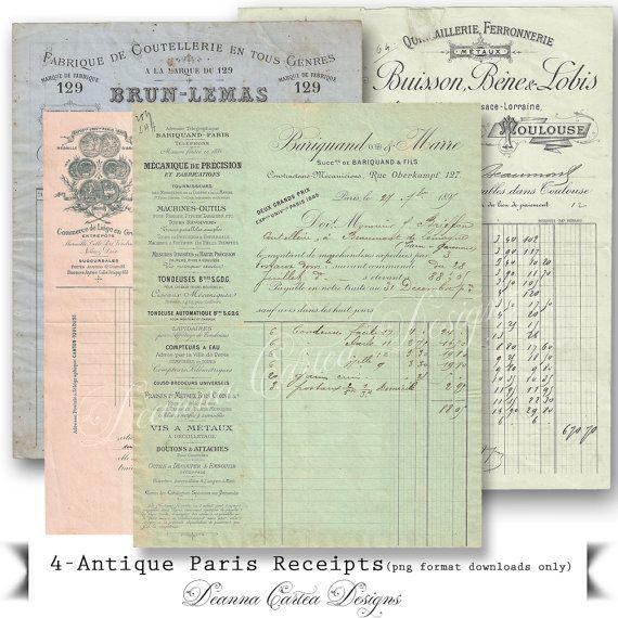 Paris Antique Receipts Ephemera instant download by DeannaCartea
