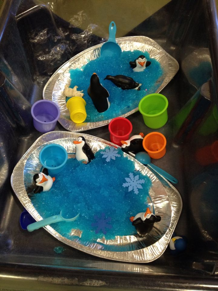 Penguins in jelly bath
