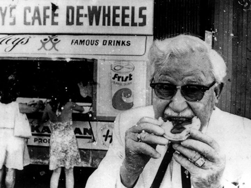 asunburntcountry: Colonel Sanders checks out the competition at Harry's Cafe de Wheels in Sydney, 1972