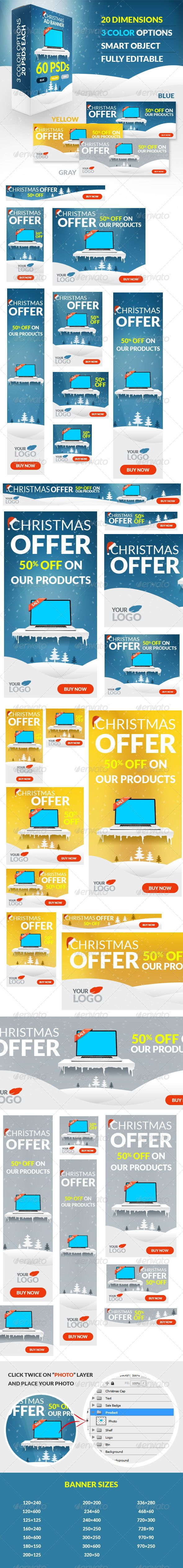 Christmas Offer Web Ad Banners Template PSD | Buy and Download: http://graphicriver.net/item/christmas-offer-web-ad-banners/6283626?WT.ac=category_thumb&WT.z_author=ashoka27&ref=ksioks