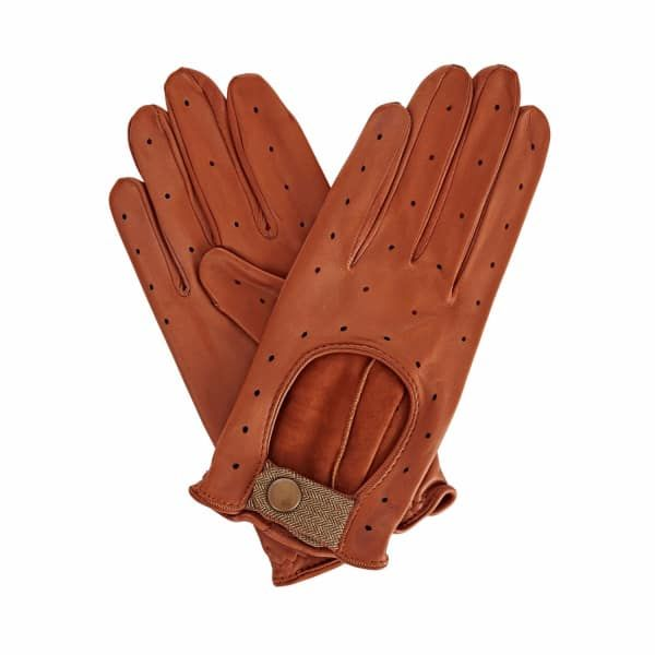 Bernadette Tan Brown Leather Driving Gloves With Light Brown Tweed | Gizelle Renee | Wolf & Badger
