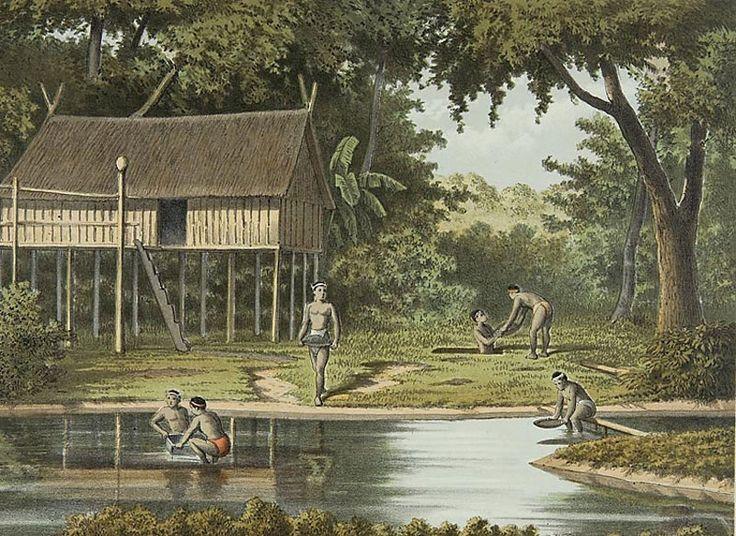 Arbeiders aan het werk bij de diamantputten