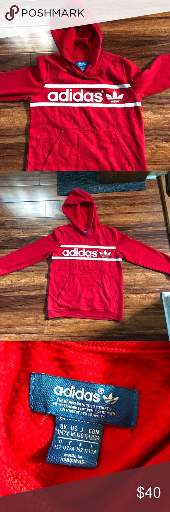 Red adidas hoodie for kids Used only once Looks brand new   Size 11-12 y Or size M in youth Fast shipping adidas Jackets & Coats