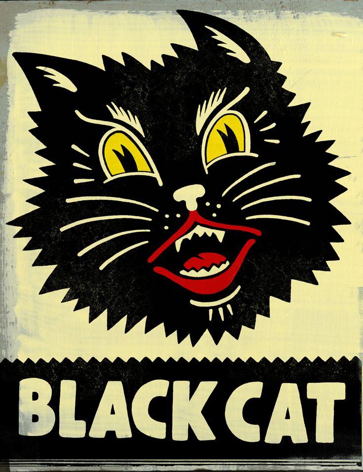 Vintage Halloween black cat Illustration -cookie decorating inspiration.