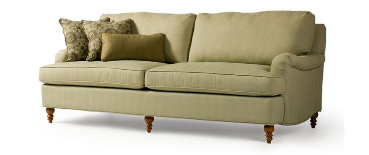 "Hemingway Fabric: Jumper Celadon Includes two 20"" x 20"" toss pillows  SOFA (as shown) Length (overall) 86"" Length (inside) 73"" Depth (overall) 37"" Depth (seat) 24"" Height (overall) 34"" Height (arm) 27"" Height (seat) 19"""