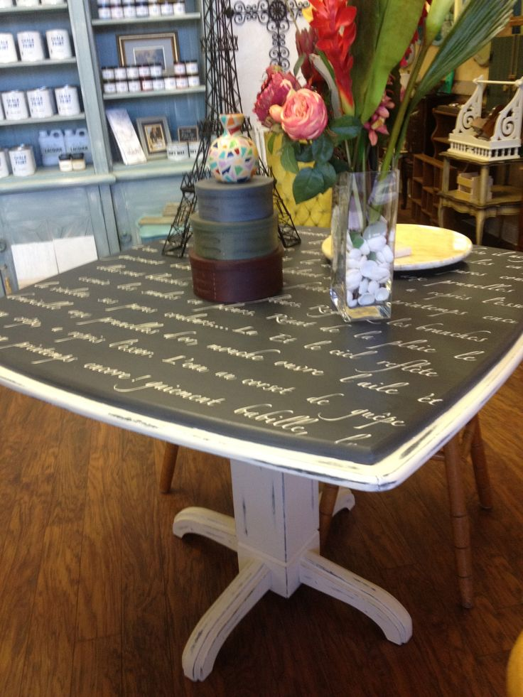 Pub Style table painted with Chalk Paint® in Old White and Graphite, then stenciled in Old White, sand distressed, Clear Waxed by TLC Design Studio.