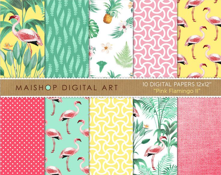 Tropical Digital Paper 'Pink Flamingo II' Floral Scrapbook Backgrounds for Scrapbooking, Invitations, Stickers, Decoupage, Cards... by MaishopDigitalArt on Etsy