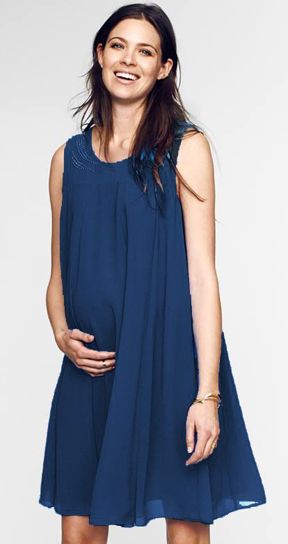 Stud detail formal blue maternity dress ideal for evening for Maternity dress to wear to a wedding as a guest
