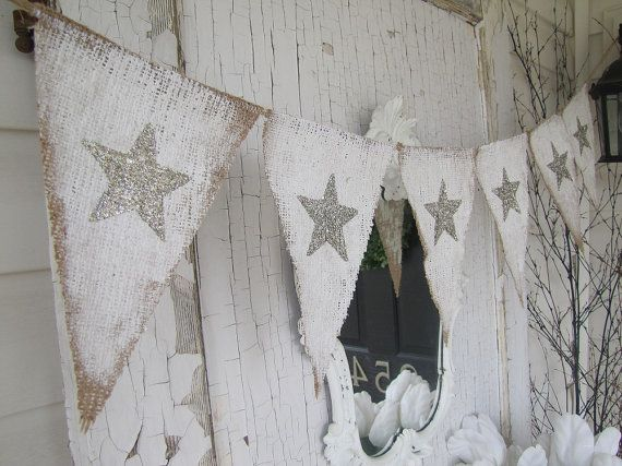 Rustic painted burlap star bunting wow this is for my Christmas Garland display & for my page to make too <3 <3 <3