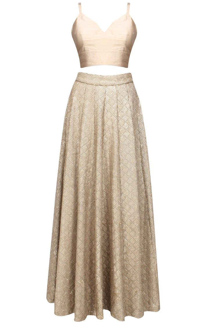 Rose gold sequins embellished skirt and crop top set available only at Pernia's Pop Up Shop.