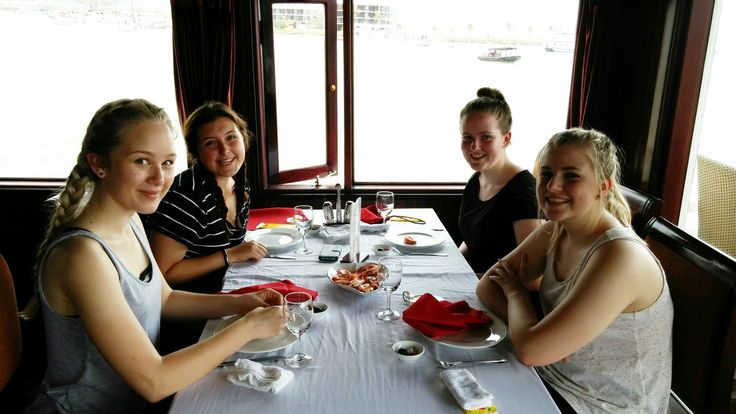 Enjoying freshly caught and cooked seafood while cruising around Halong Bay. #VietnamSchoolTours #HaLongBay