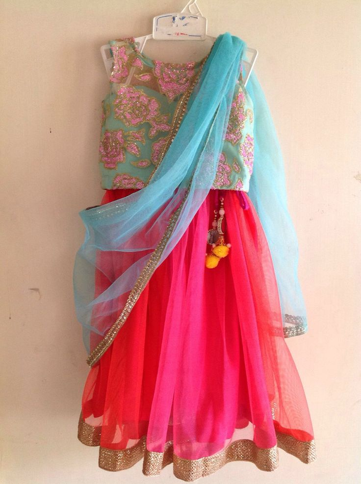 A personal favourite from my Etsy shop https://www.etsy.com/in-en/listing/263382537/kids-mint-color-sequin-floral-lehenga