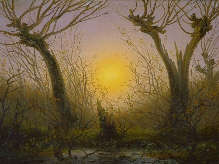 Willow Bush in a Setting Sun, Caspar David Friedrich, ca. 1832-35