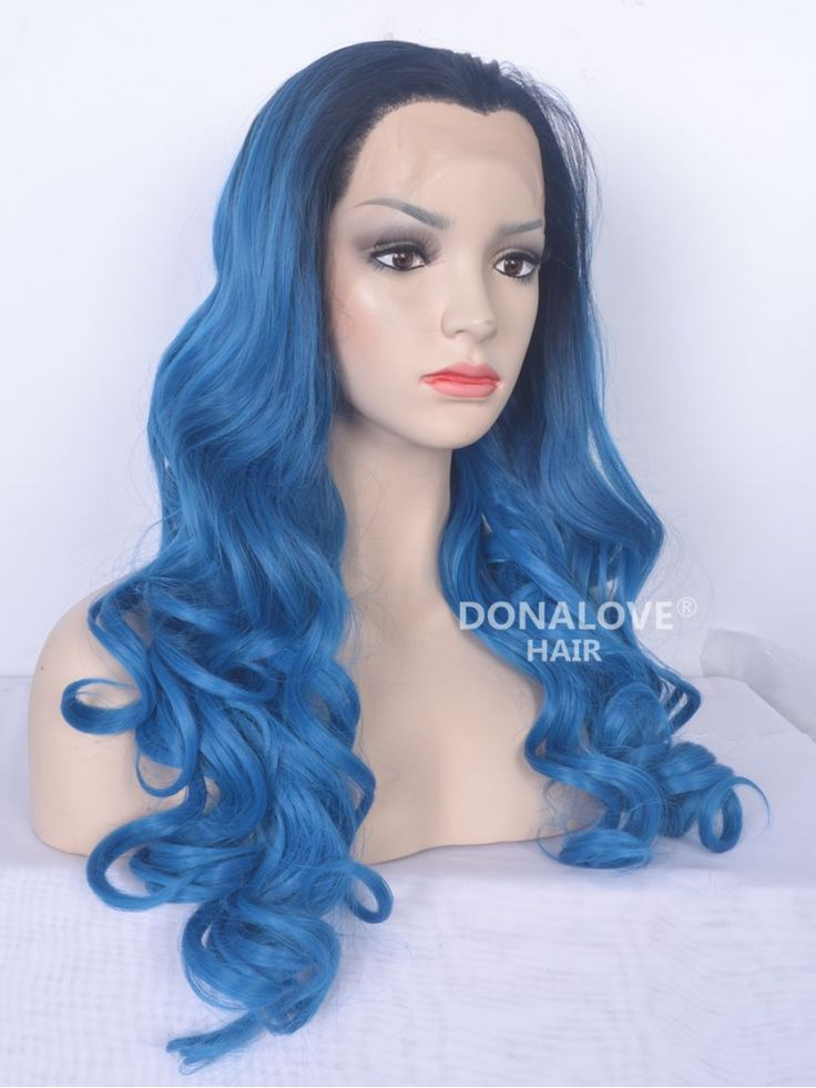 Black to Blue Mermaid Wavy Lace Front Synthetic wig SNY083 - SYNTHETIC WIGS - DonaLoveHair