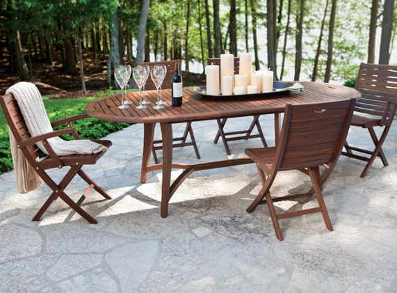 Topaz Oval Extension Table And Folding Chairs By Jensen